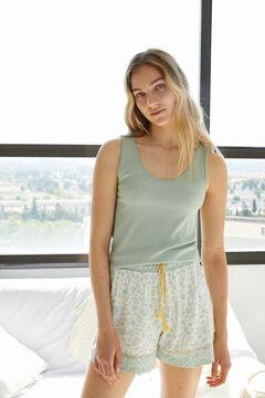 Womensecret Short organic cotton vest pyjamas green