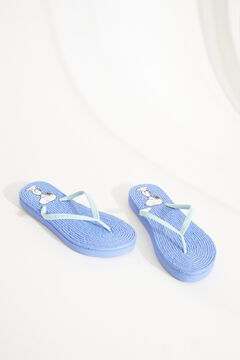 Womensecret Blue Snoopy raffia flip-flops blue