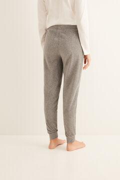 Womensecret Pantalon long microvelours côtelé gris gris