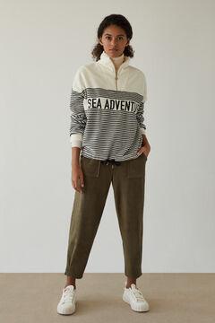 Womensecret Long nautical fleece sweatshirt beige