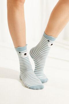 Womensecret Pack of 3 blue bear print mid-length socks printed
