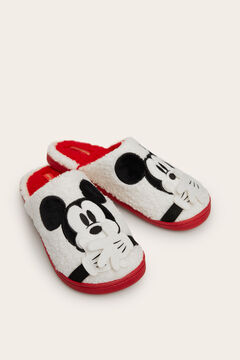 Womensecret Pantufas sem calcanhar do Mickey de lã beige