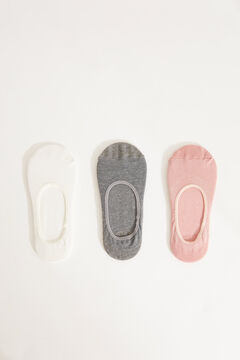 Womensecret 3-pack grey cotton no-show socks grey