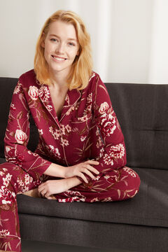 Womensecret Pijama largo camisero floral granate marrón