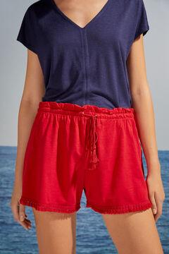 Womensecret Red fringed cotton pyjama shorts burgundy