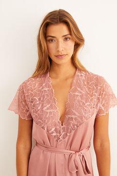 Womensecret Robe comprido plumeti e de renda rosa rosa