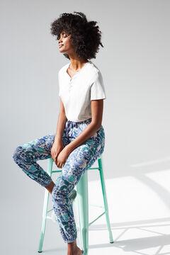 Womensecret Coordonné long blue cotton bottoms grey