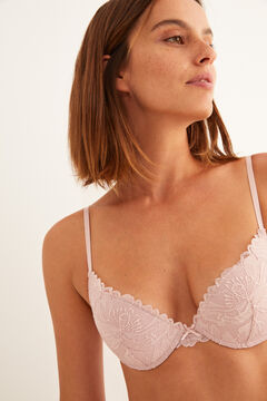 Womensecret Pink lace and microfibre push-up bra pink