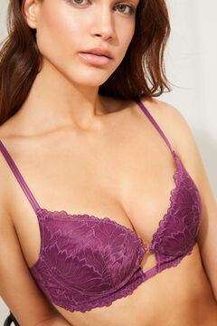 Womensecret GORGEOUS aubergine lace and tulle push-up bra pink