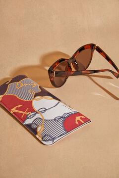 Womensecret Cat eye tortoiseshell sunglasses with sailor print case white