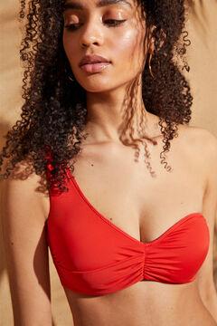 Womensecret Asymmetric draped bikini top red