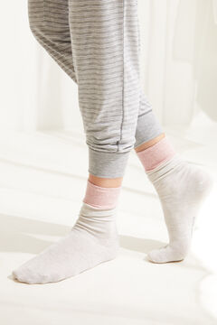 Womensecret Lurex detail mid-length socks grey