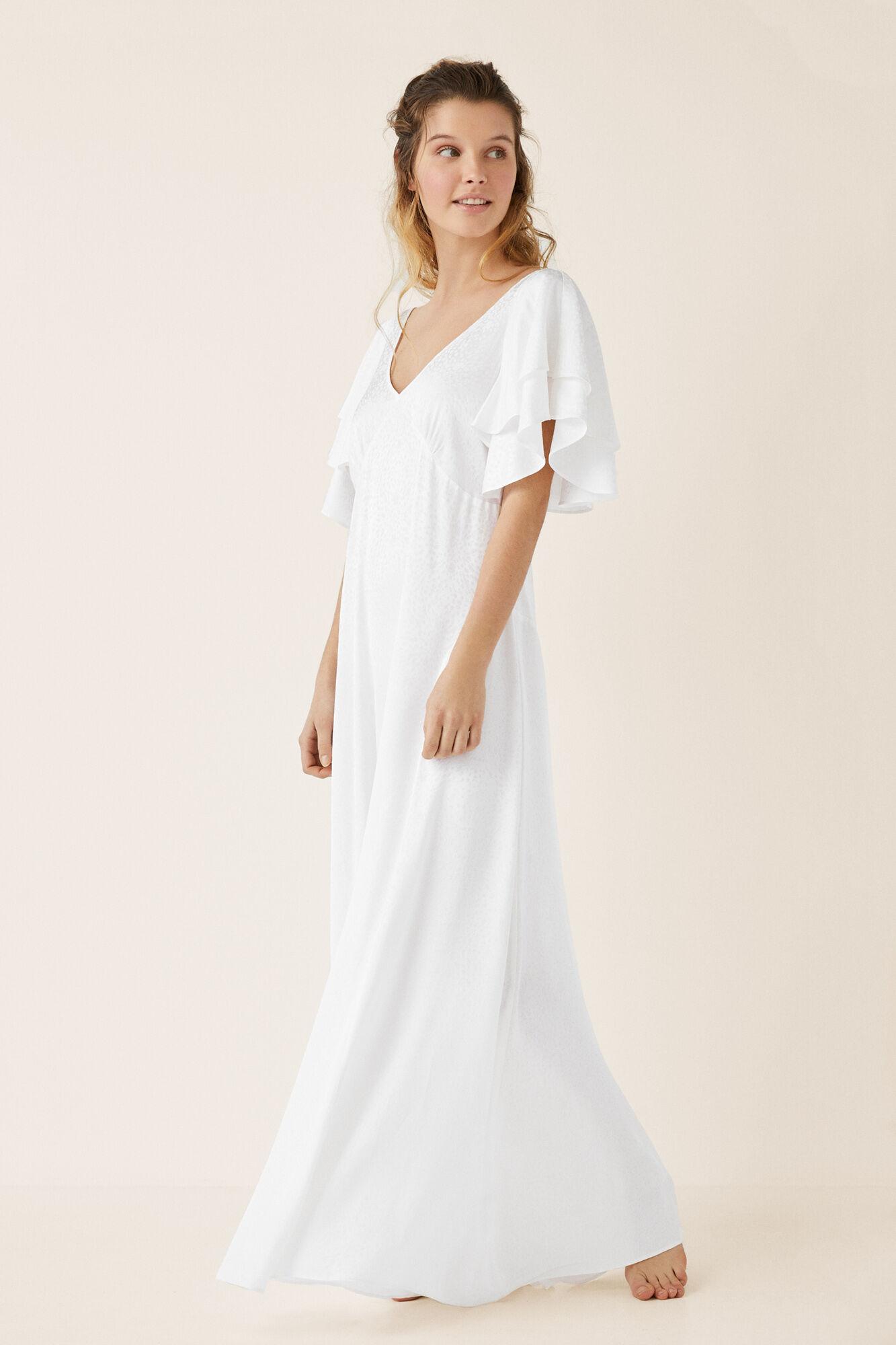 Vestido Volantes Con Con Largo Blanco Vestido Blanco Largo Volantes 5q4ARcL3j