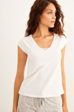 Womensecret White short-sleeved cotton t-shirt lace detail white