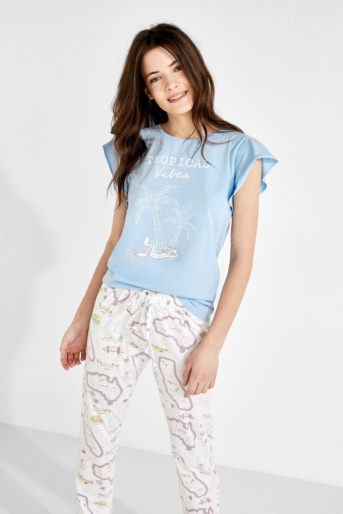 Long Pink Panther Tropical vibes cotton pyjamas  ea7afba13