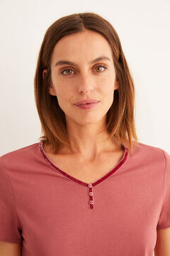 Womensecret Red short-sleeved Henley t-shirt pink