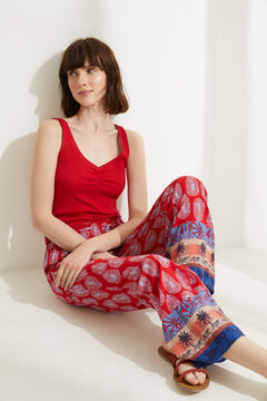 Womensecret Red fluid wide leg pyjama bottoms printed