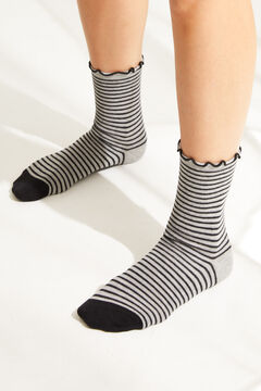 Womensecret Grey polka-dot print mid-length socks grey