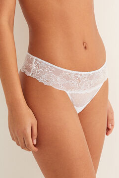 Womensecret Lace and mesh tanga white