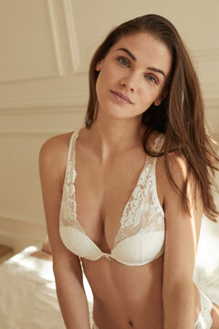 Womensecret INTUITIVE White lace padded halterneck bra white