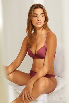 Womensecret LOVELY Maroon lace and microfibre triangle bra pink