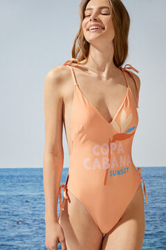 Womensecret Orange V-neck Copa Cabana swimsuit red