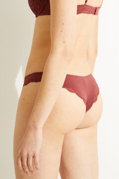 Womensecret Maroon lace and microfibre Brazilian panty nude