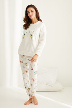 Womensecret Long fleece llama pyjamas beige