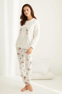 Womensecret Langer Fleece-Pyjama Lama Naturweiß
