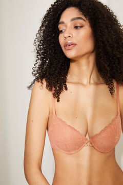 Womensecret GORGEOUS Orange cotton and lace push-up bra brown