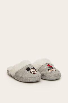Womensecret Hausschuhe hinten offen Micky Maus und Pluto grau