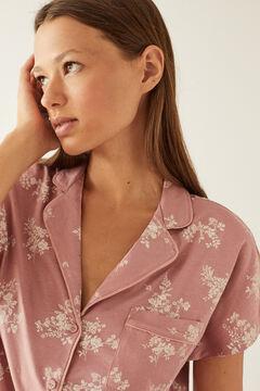 Womensecret Short nightshirt pyjama set in pink 100% organic cotton pink