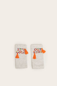 Womensecret Long grey multicoloured detail socks grey
