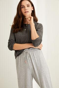 Womensecret Pantalón jogger rayas gris estampado