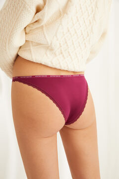 Womensecret Pink Brazilian microfibre and lace panty pink