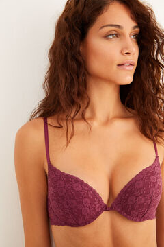 Womensecret Maroon lace push-up bra red
