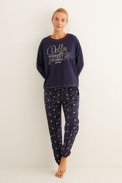 Womensecret Long blue cotton Dobby pyjamas blue