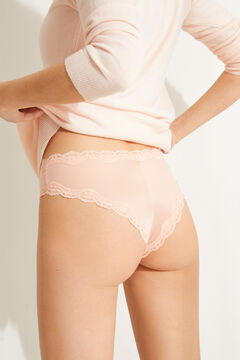 Womensecret Pink microfibre and lace wide side Brazilian panty red