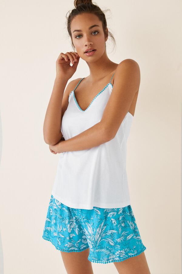 d08c2bb99 Womensecret Pijama corto tropical blanco