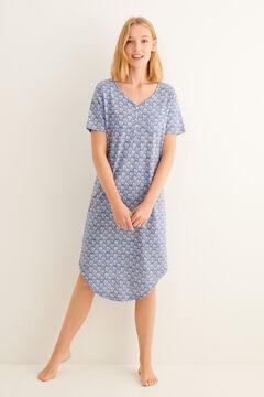 Womensecret Camisa de dormir midi de manga curta com estampado hindu cinzenta cinzento