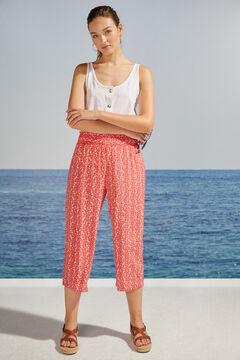 Womensecret Pantalon Capri imprimé floral rouge imprimé