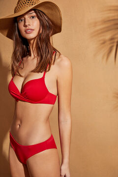 Womensecret Top bikini súper push up rojo  burdeos