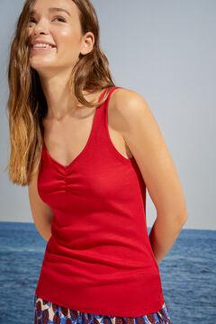 Womensecret T-shirt bretelles côtelé rouge rouge