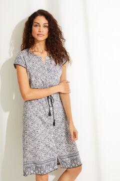 Womensecret  Vestido camisa de dormir midi algodão 100% estampagem floral azul cinzento