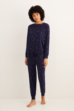 Womensecret Long navy star winter pyjamas blue