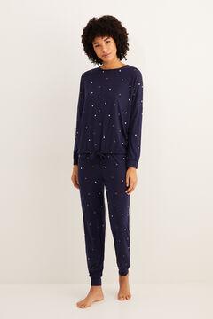 Womensecret Matrózkék, hosszú, csillagos téli pizsama kék
