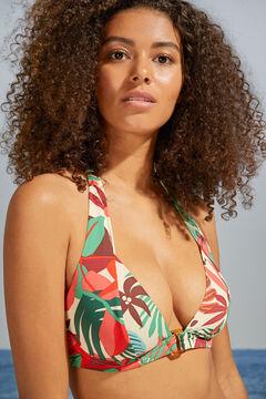 Womensecret Top bikini halter capacidad estampado tropical blanco