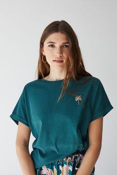 Womensecret T-shirt manches courtes palmier vert