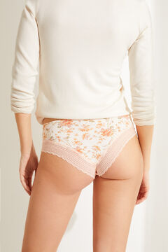 Womensecret Maroon lace and microfibre wide side Brazilian panty beige