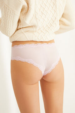 Womensecret Pink full Brazilian microfibre and lace panty pink